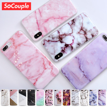 SoCouple For iphone 5s 5 SE 6 6s 8 6/7/8 plus X Granite Scrub Marble Stone image Painted Silicone Phone Case For iphone 7 case