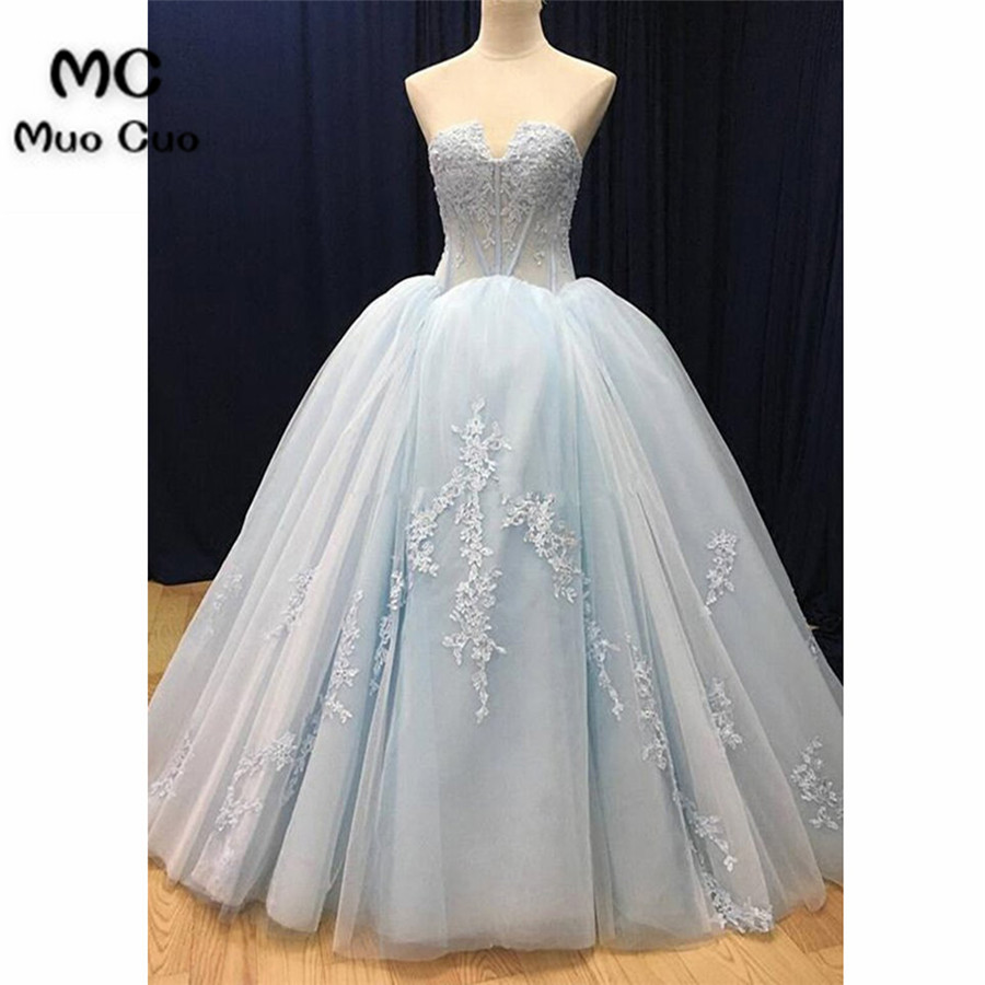 2018 Ball Gown   Prom     dresses   Long Appliques Sweetheart   dress   for graduation Lace Up Tulle Formal Evening Party   Dress   for Women