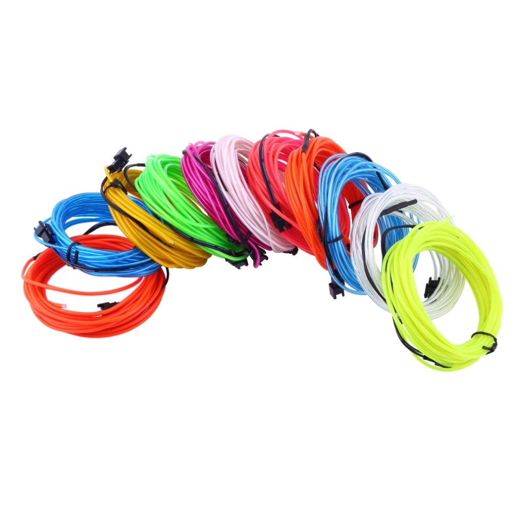 1pc 3M Flexible EL Wire Tube Rope Battery Powered Flexible Neon ...
