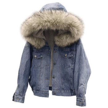 Lambs Wool Denim Women Winter Jacket Plus Velvet Thick Short Cotton Jeans Jacket Female Hoodies Faux Fur Collar Women Coat C5136