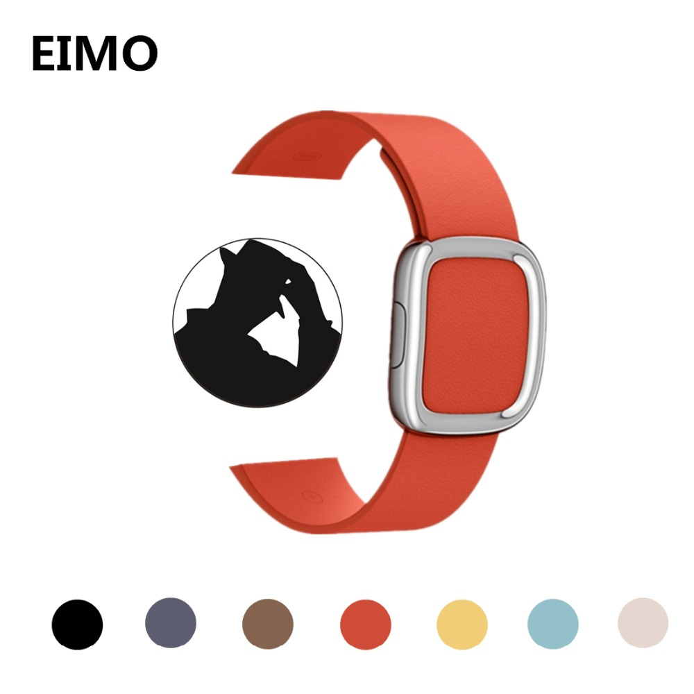 где купить Leather modern buckle band for apple watch strap 42mm 38mm 3 2 1 bracelet Genuine Leather wrist belt watchband for iwatch bands по лучшей цене