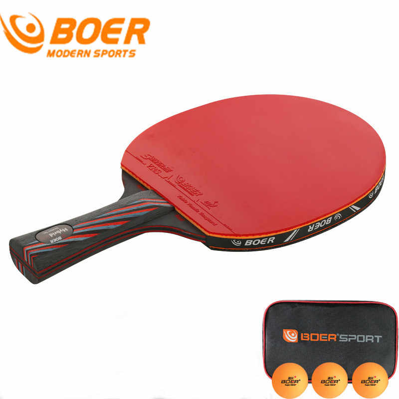BOER 2017 New Professional Table Tennis Racket Wood Handle Ping Pong Racket Double Table Tennis Racket Set With Balls + Bag