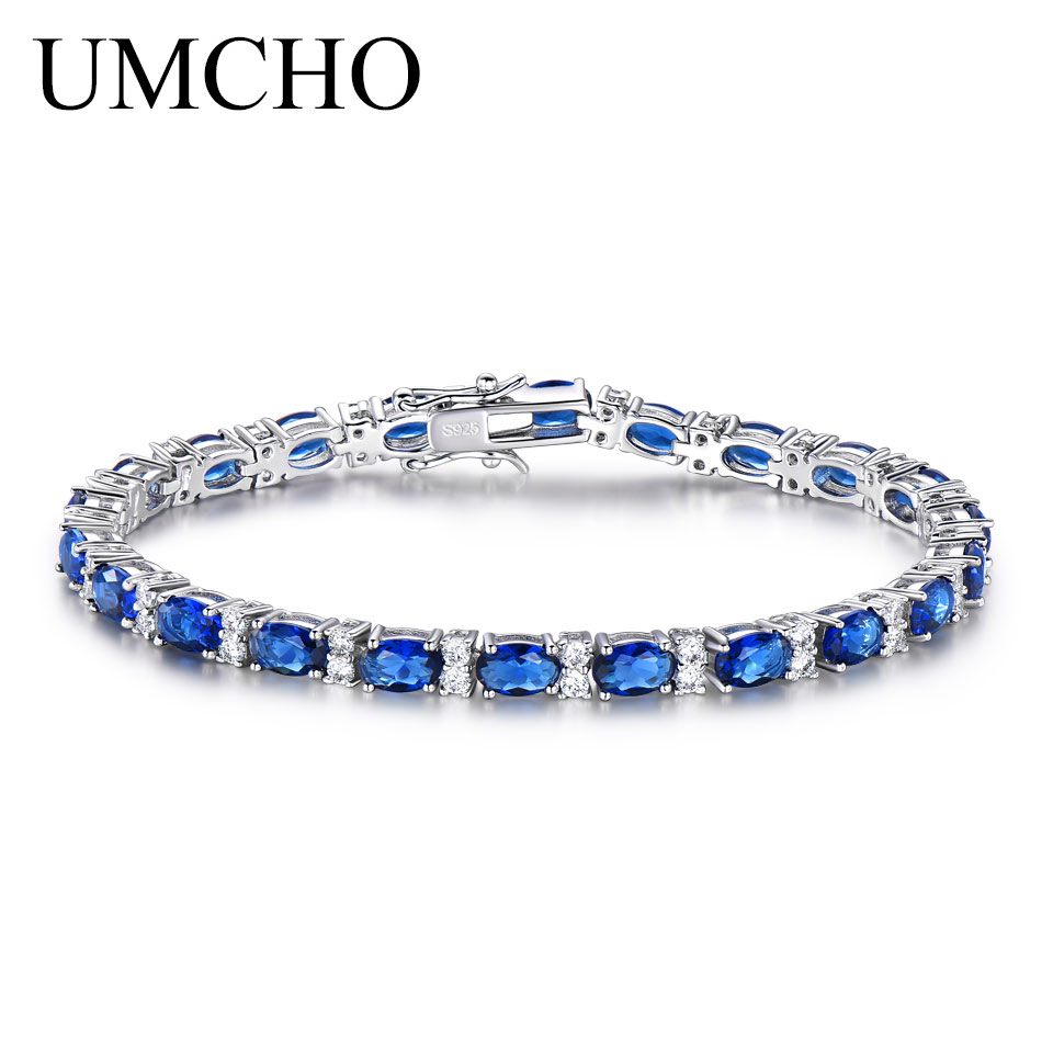 UMCHO De Luxe Bleu Saphir Bracelets pour Femmes Véritable 925 Bijoux En Argent Sterling Romantique De Mariage Pierre de Naissance Pierres Précieuses Bijoux