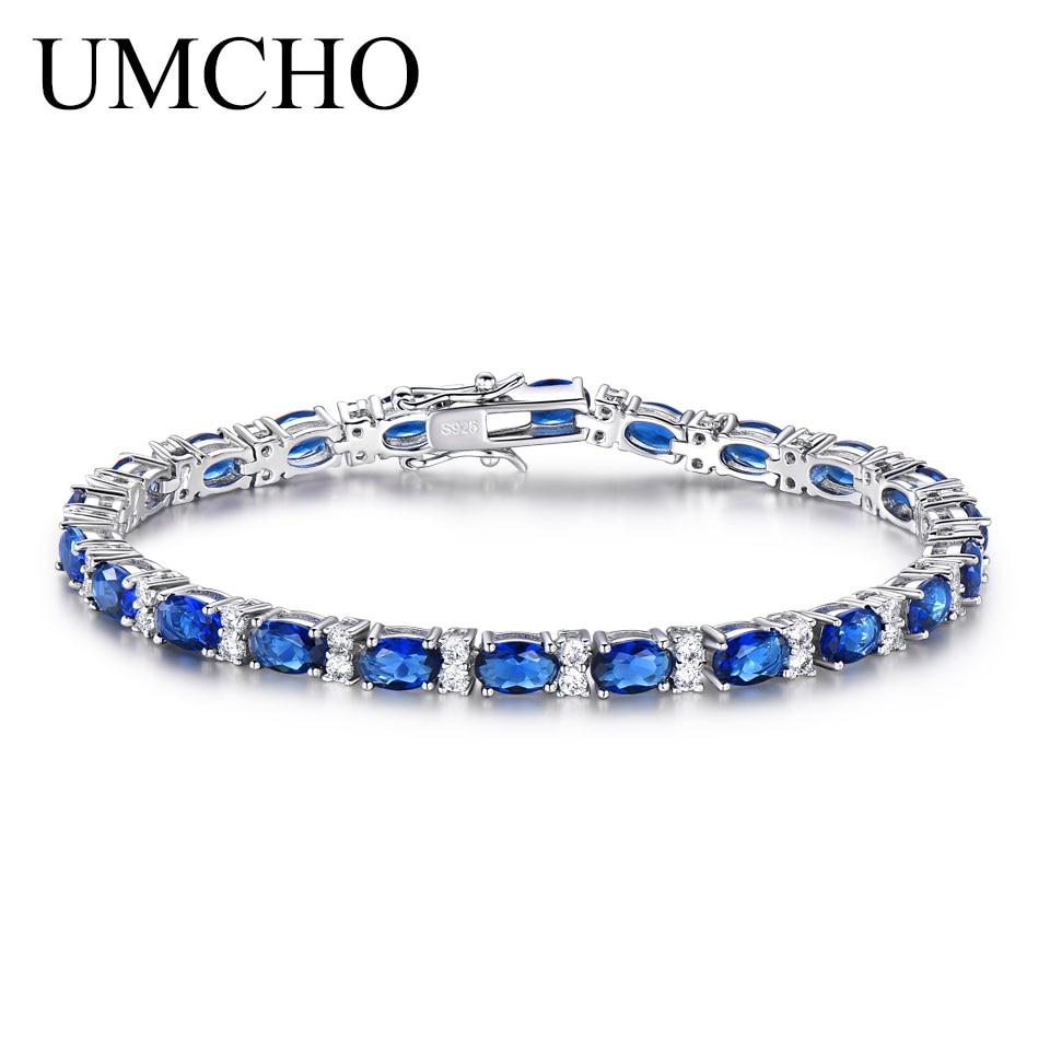 UMCHO Erstellt Blue Sapphire Armband Für Frauen 100% 925 Sterling - Edlen Schmuck
