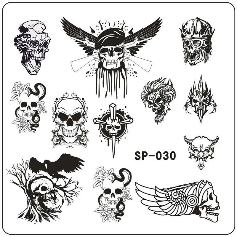 New Cartoon Skull Triangle Mönster Utskrift Bild Nail Stamping Plate Stainless Steel Template Stencil 11 Designs att välja