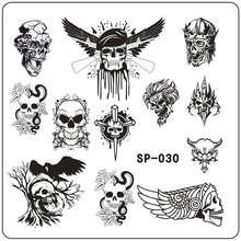 New Cartoon Skull Triangle Pattern Printing Image Nail Stamping Plate Stainless Steel Template Stencil 11 Designs to Choose