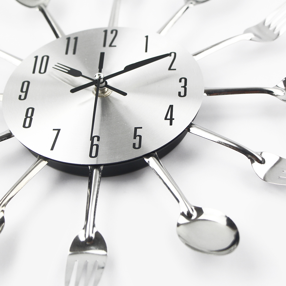 Kitchen Clocks Runner Washable New Hot Modern Wall Clock Sliver Cutlery Spoon Fork Creative Stickers Mechanism Design Home Decor Horloge