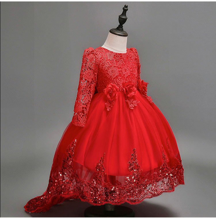 Girls Flowers Lace Dress Bling Autumn Trailing Long Sleeves Full Dresses For Wedding Birthday Party Princess tutu Prom frocksGirls Flowers Lace Dress Bling Autumn Trailing Long Sleeves Full Dresses For Wedding Birthday Party Princess tutu Prom frocks