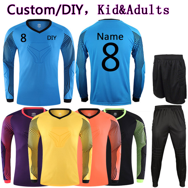 8398cf1f22f Adult Kids Custom Soccer Goalkeeper Jerseys Kit College Sports Football  Tracksuit DIY Goalkeeper Uniforms Train Clothes Suit