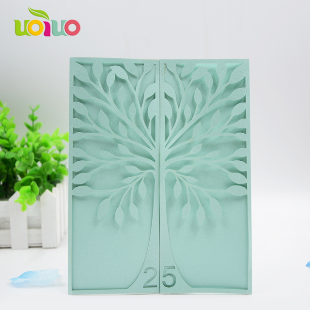 Hot Mint Green Special Tree Shape Laser Cut Wedding Invitation Cards