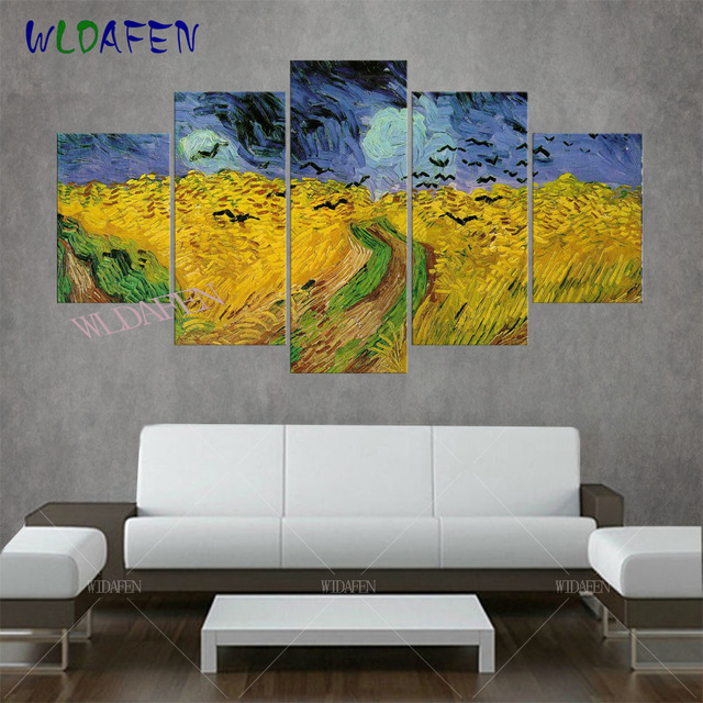 5 piece canvas art van gogh oil painting reproductions Wheat field and crow framed wall art canvas prints wall pictures for room