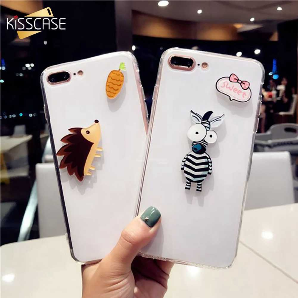 7 BEIJOS Caso Animal Bonito Para iPhone 6 6 S 6 8 Plus X Brilhante Transparente Casos de Telefone Para o iphone 7 8 Plus X Girly 6 S Back Covers