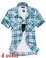 Мужчины рубашки 2016 весна лето с короткими рукавами печатных сетки рубашки мужчины повседневная slim fit клетчатые рубашки для мужчин Camiseta М-2XL 5040