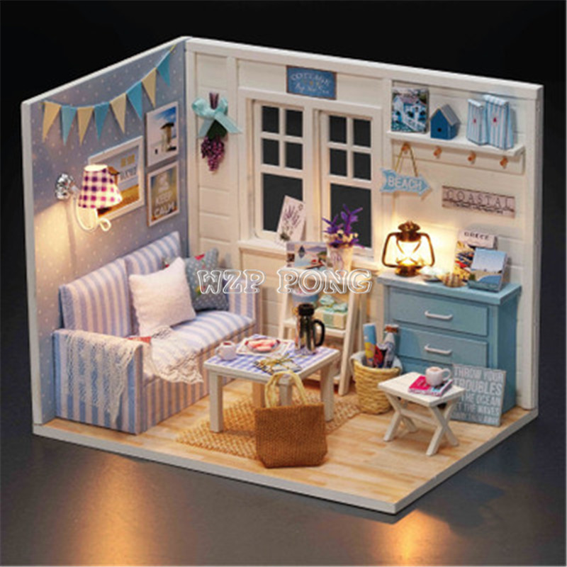 Doll House Furniture Kits Fresh Sunshine DIY Wood Dollhouse Miniature with LED+Furniture+Dust Cover Doll House Room Girls Gift