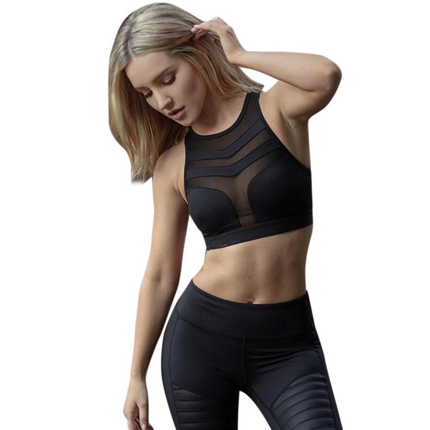 better-caress Lingerie Women Fitness Stretch Workout Tank Top Seamless Racerback Padded Bra