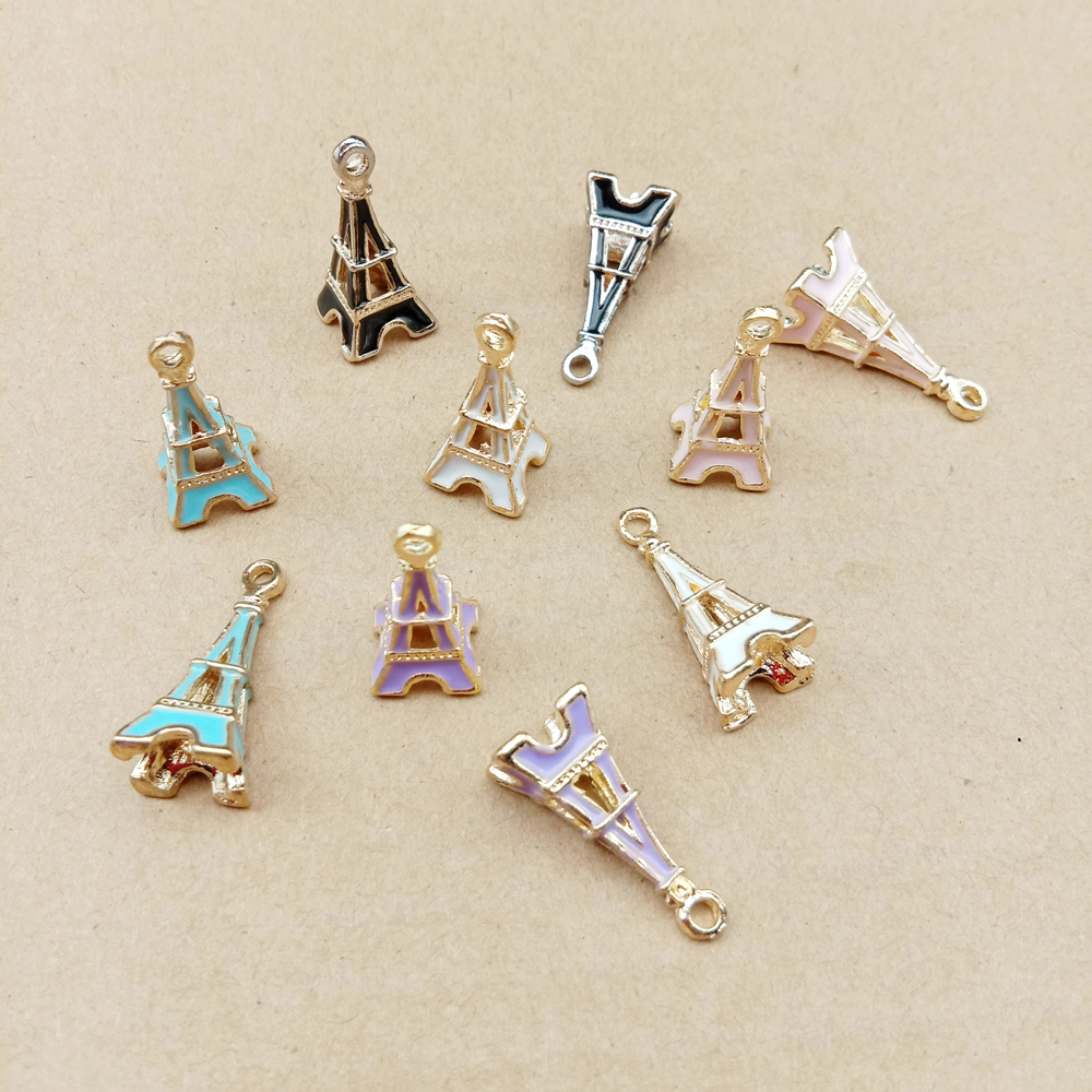10pcs 10x23mm enamel tower charm for jewelry making and crafting fashion earring charm zinc alloy pendant