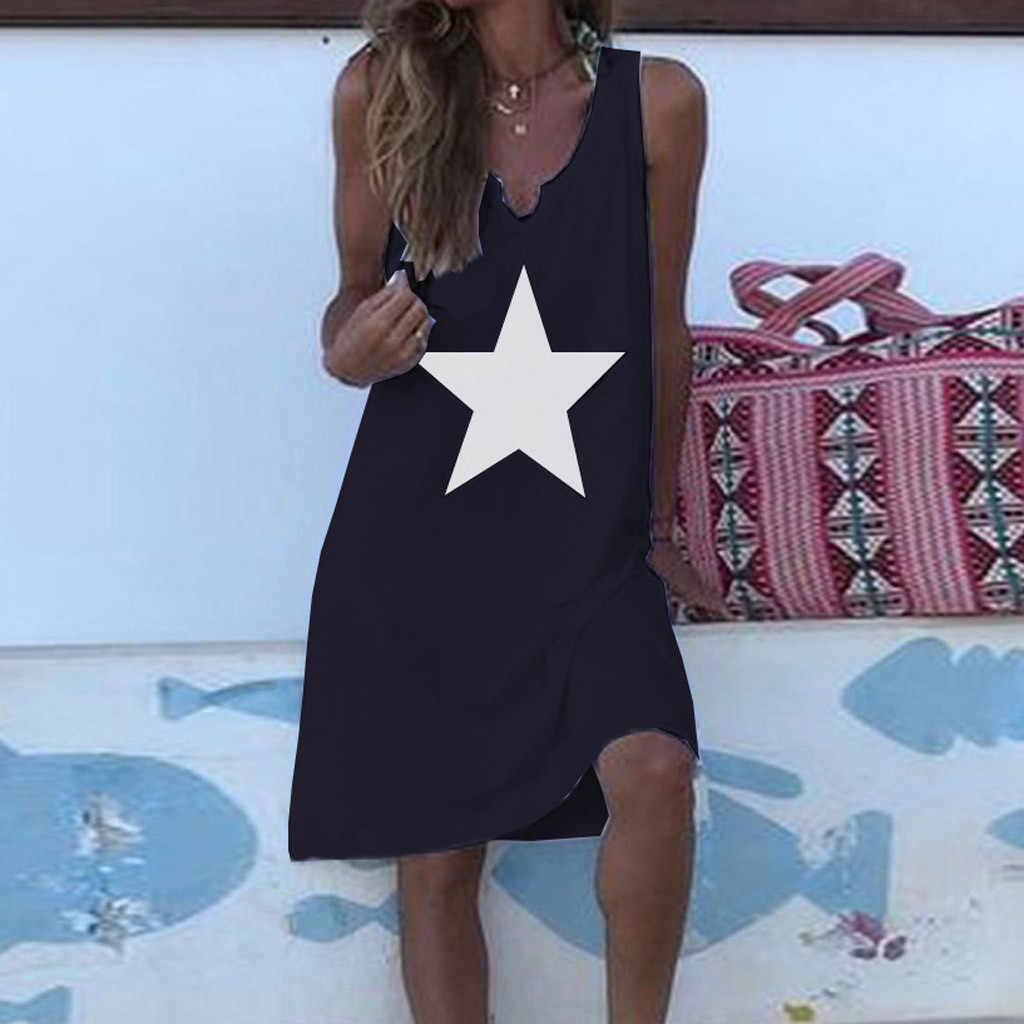 Baggy Dress Women Summer Casual Stars Print Dresses Sexy V-Neck Sleeveless Loose Knee-Length Beach Dresses Plus Size 5XL