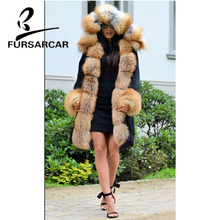 FURSARCAR Black Color Real Fur Coat Women 2018 Luxury Winter Fur Parka For Female With Thick Gold Fox Fur Trim Hood And Cuff free shipping kid s100% cashmere cape with real fur trim length 30cm 6inch twisted fur with hood