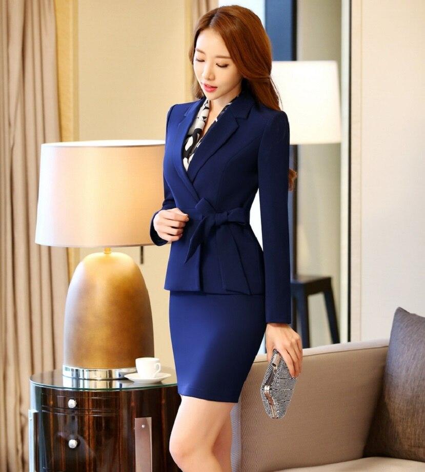 7f67933af6a38 Nouvelle Mode Élégante Carrière Professionnelle Vêtements de Travail Jupe  Costumes Formelle OL Styles Printemps Automne Femmes Vestes Et Jupe Blazers