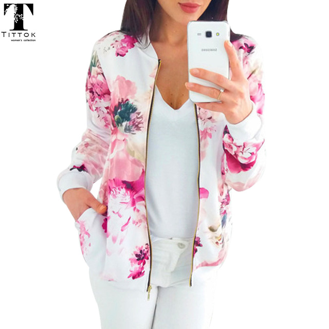 2018 New arrivals blue red floral print baseball jacket zipper slim women windbreaker for women autumn female coat streetwear