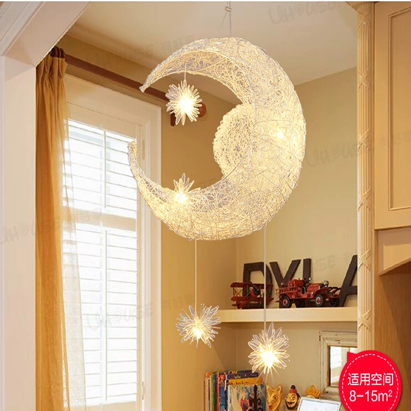 New novelty children room pendant light modern pendant lamp for home Moon Star light wicker dining room decor lighting fixture