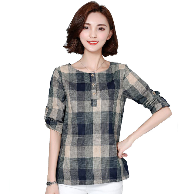 Plaid Shirt Women Cotton Linen Blouse 2016 Autumn Long Sleeve Checked Shirts Korean Style Female Casual Tops Blusas Femininas