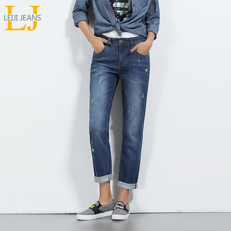 2018 LEIJIJEANS New Arrival Boyfriend Jeans Women Plus Size Bleached Design Printed Jeans Mid Waist Low Elastic Straight Jeans boyfriend style elastic waist solid color women s jeans