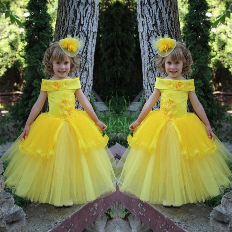 2017 Yellow Peplum Butterfly Appliques   Flower     Girl     Dresses   for Weddings Off Shoulder Kids Party Gowns Long Pageant   Dress
