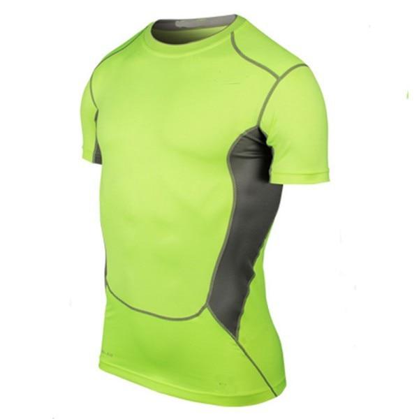 Men Sport Compression T-Shirt Short Sleeve Base Layer Fitness Running Tight Tops