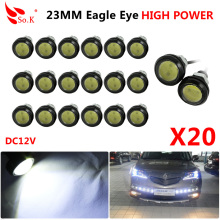 20pcs DRL 23mm LED Eagle Eye Light 12V Waterproof Daytime Running Lights Car Auto Reverse Turn Signal Tail Day Light Fog Lamps new auto car led drl daytime running lights turn fog lamps cover for mitsubishi asx 2013 car light free shipping