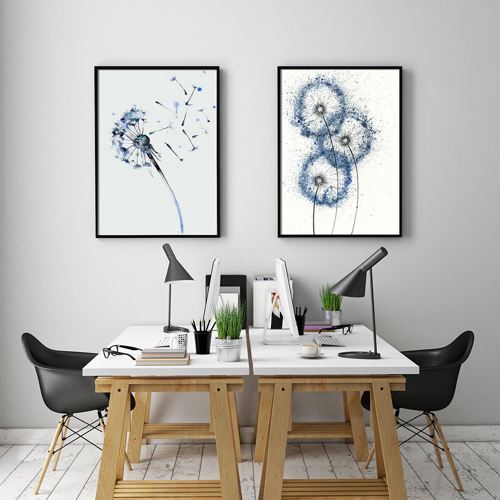 Nordic Decoration Blue Dandelion Wall Art Canvas Flowers Poster And Print  Animal Canvas Painting Picture For