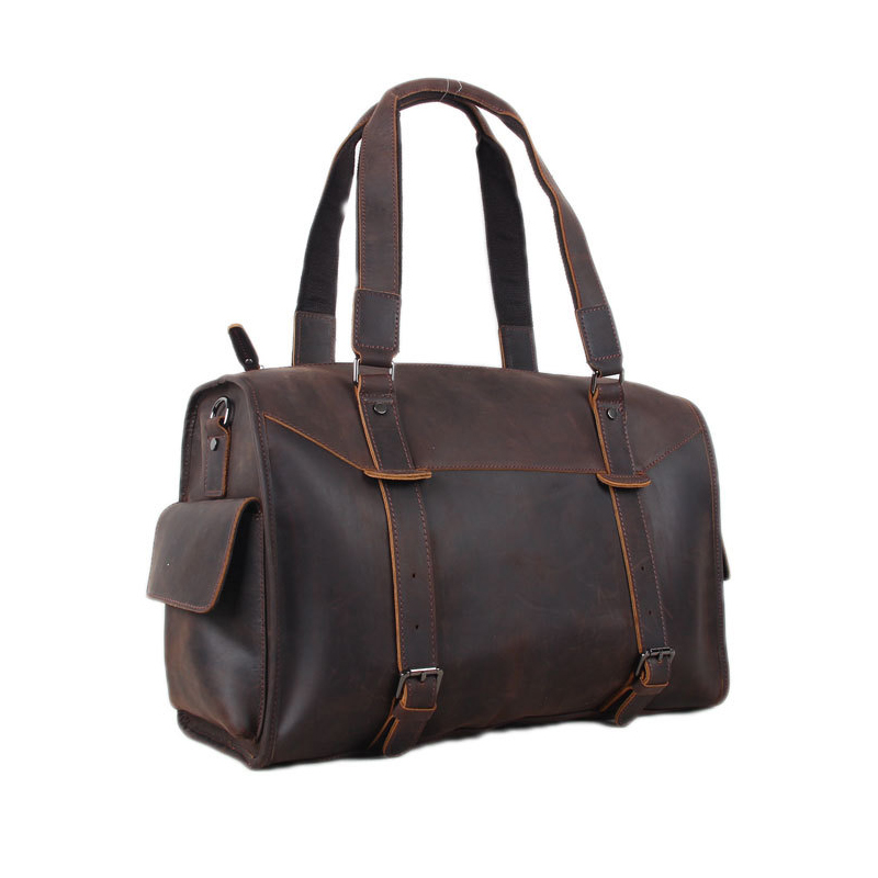 ROCKCOW Genuine leather travel bag men duffle bag Leather Overnight Bag Dropshipping 3002