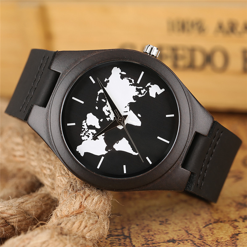 Fashion men wooden watches black creative world map dial black fashion men wooden watches black creative world map dial black leather analog quartz sandalwood wristwatches wood clock relojes in quartz watches from gumiabroncs Gallery