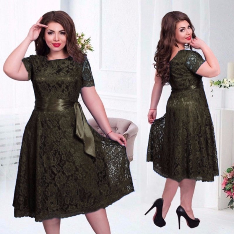 2  Women Big Size Skater Dress 6xl European African Vintage Sexy Dress Fit  and Flare Empire Lace Sashes Party Women Dress Plus Size-in Dresses from  Women s ... d483f364c