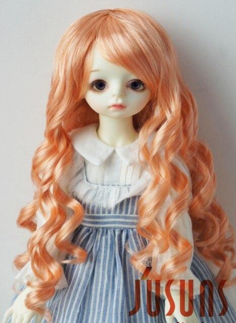 JD224 9-10 дюймов Blyth кукла парики 23-25 см кукольный парик BJD парик леди Sauvage длинные волнистые кукольные волосы - Цвет: Orange