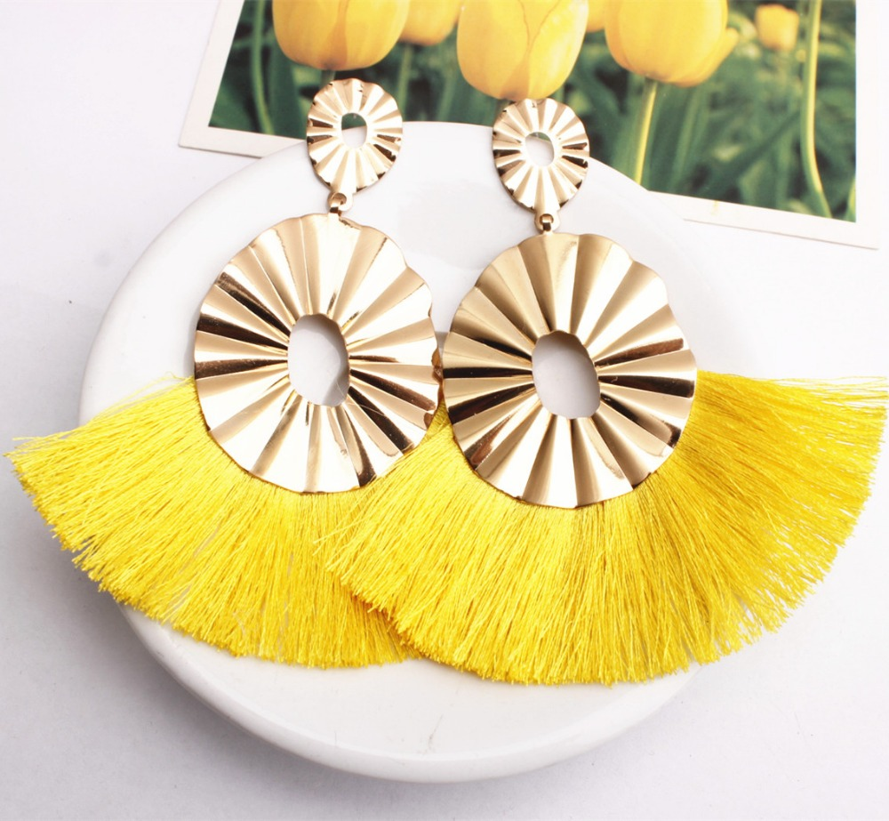 2018 New Bohemian Exaggerated Multilayer Alloy Geometric Corrugated Long Fringe Earrings For Women Wedding Party Fringed Gifts