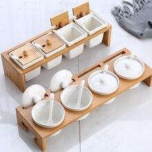 Креативная керамическая коробка для приправ, Набор банок для приправ, бытовая банка для приправ, товары для здоровья и гигиены, кухонные принадлежности, коробка для приправ Q220