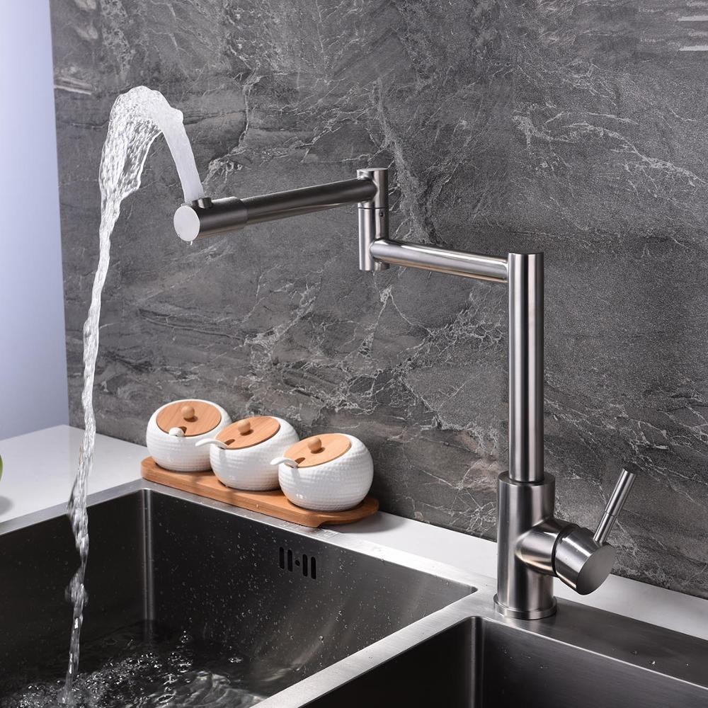 Free shipping SUS304 stainless steel 360 rotate folding extend single handle hot&cold water mixer   taps kitchen sink faucet free shipping food grade 304 stainless steel hot sell kitchen sink double trough 0 8 mm thick ordinary 78x43 cm