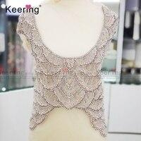 Haut de gamme sur mesure de mariée grand perlé applique conceptions pour robe WDP-024