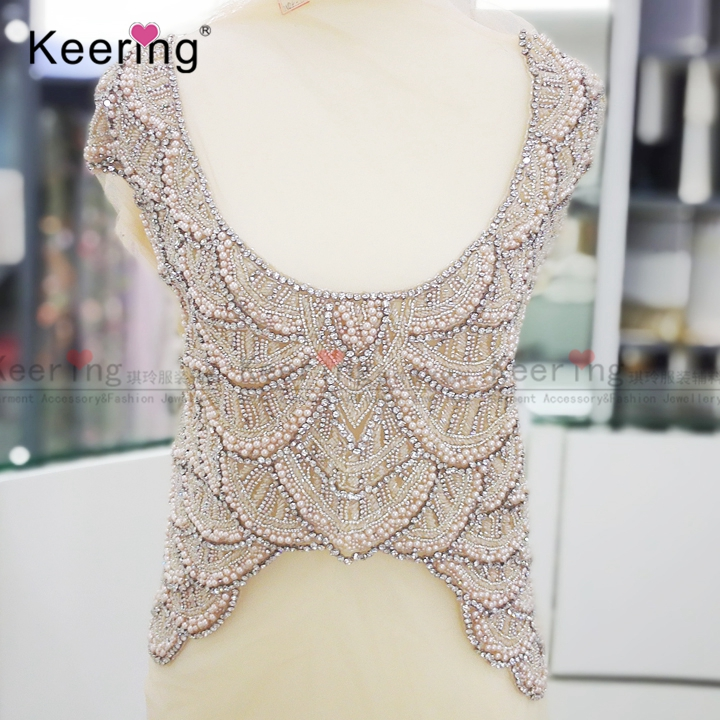 High end customized bridal large beaded applique designs for gown WDP 024