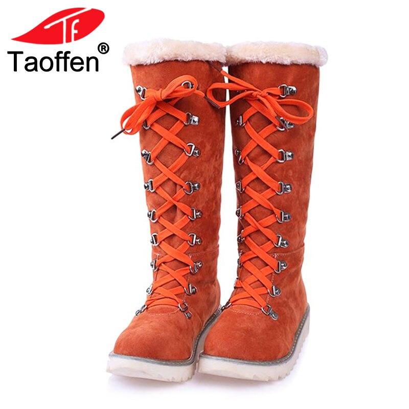 Taoffen Vintage Women Knee Snow Boots Lace Up Rivet Thick Fur Shoes Women Winter Flats Boots Plush Warm Women Shoes Size 34-43