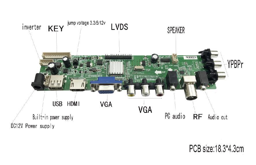 DS.D3663LUA.A81 DVB-T2/T/C digital TV universal LCD driver board 15-32inch full kit for 30pin 1ch,6-bit 1pcs lamp screen 366311