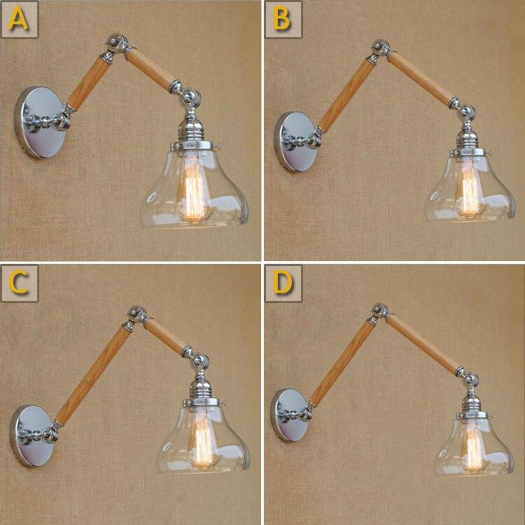 ФОТО Swing Long Arm Retro Loft Industrial Vintage Wooden Wall Lamp Bedroom Luminaria Lamparas Applique Dining Restaurant Wall Sconce
