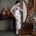Sexy Silk Satin Cheongsam Chinese Traditional Cap Sleeve Evening Dress High-slit Full-Length Floral Retro Qipao QP42