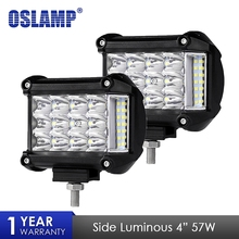 Oslamp 4 inch 57W Side Luminous Led Work Light Car Driving Lamp Offroad Light Bar Combo