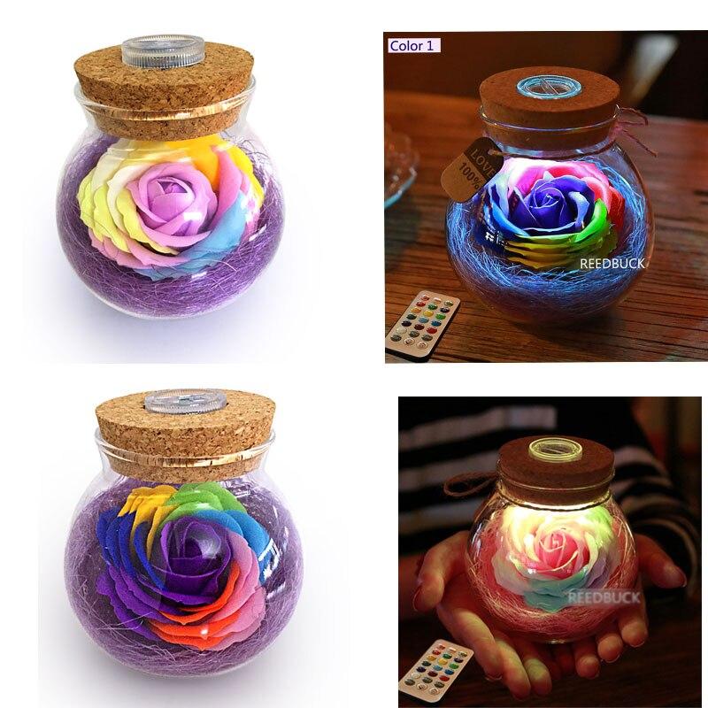 LED Dimmer Lamp Creative Rose Flower Bottle Light Great Holiday Gift 13 Colors