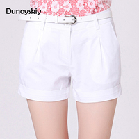 Dunayskiy Women Summer White And Khaki Solid Low Waist Shorts With Pockets And Button Casual Style