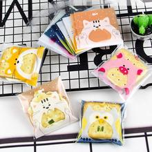 100pcs Cartoon Animal Plastic Cookie Gift Bag Baking Candy Box Baby Shower Birthday Wedding Party Cellophane Packing Bags S4