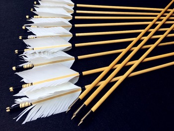 6/12/24PK  high quality wooden arrow white feather real archery hunting recurve bow 5