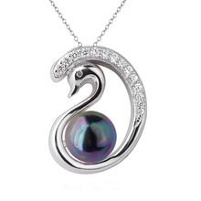 Ladies Swan Authentic Sterling Silver 925 Pendant Necklace Multiple Colors seashell Pearl Lovely Jewelry for Girlfriend P062
